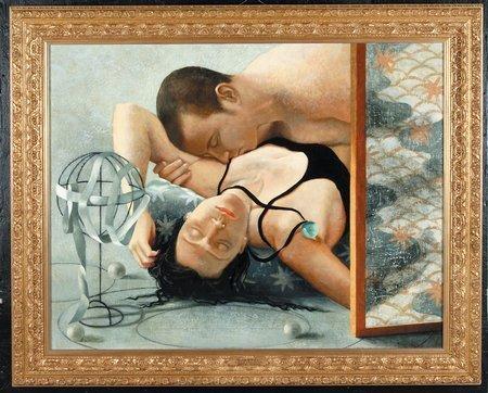 225: Laurie Kaplowitz Oil Canvas Modern Gravity Love