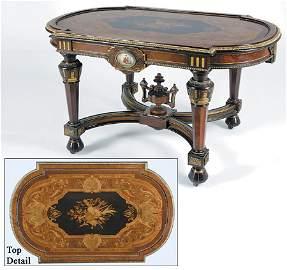 237: Renaissance Revival Table Marquetry & Porcelain