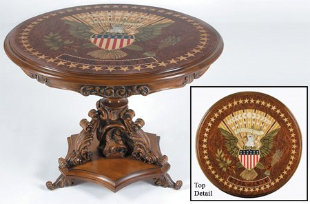 263: Centennial Style Eagle Inlaid Center Table Carved