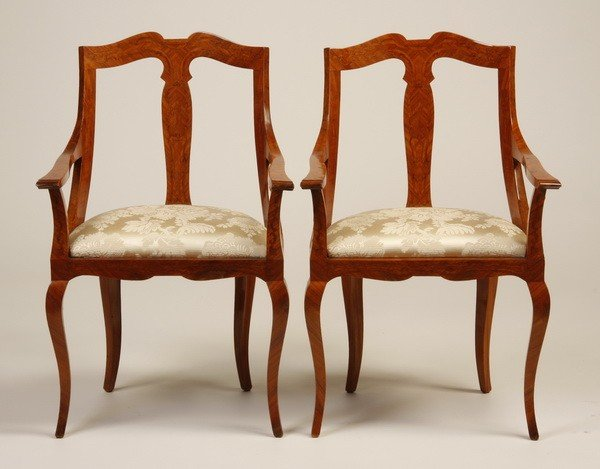 2: (2) 19th c. marquetry inlaid armchairs