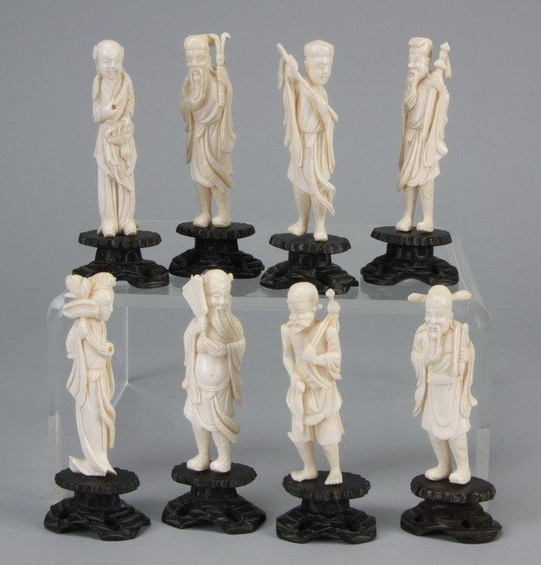 7: (8) Early 20th c. Chinese ivory figures
