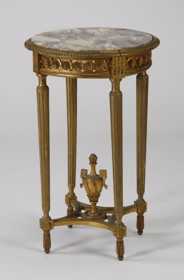 9: Louis XVI gilt wood marble top side table