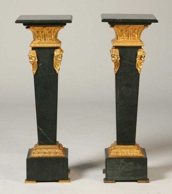 12: Pair of bronze mounted marble pedestals
