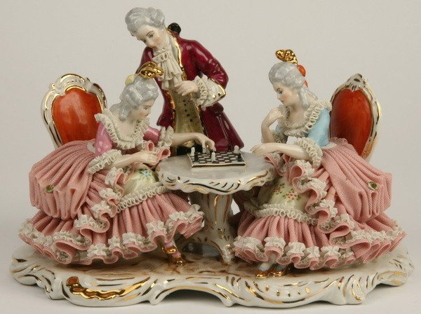 13: Early 20th c. Dresden porcelain grouping
