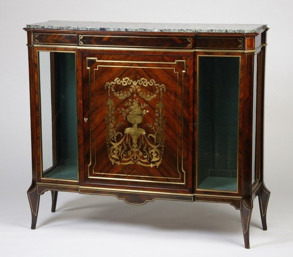 14: 19th c. English Regency brass inlaid cabinet