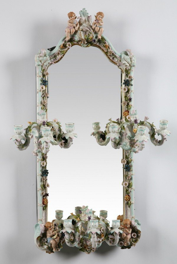 16: 19th c. porcelain mirror, marked Meissen
