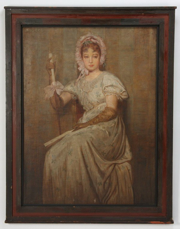 22: 19th c. Continental oil on canvas, signed