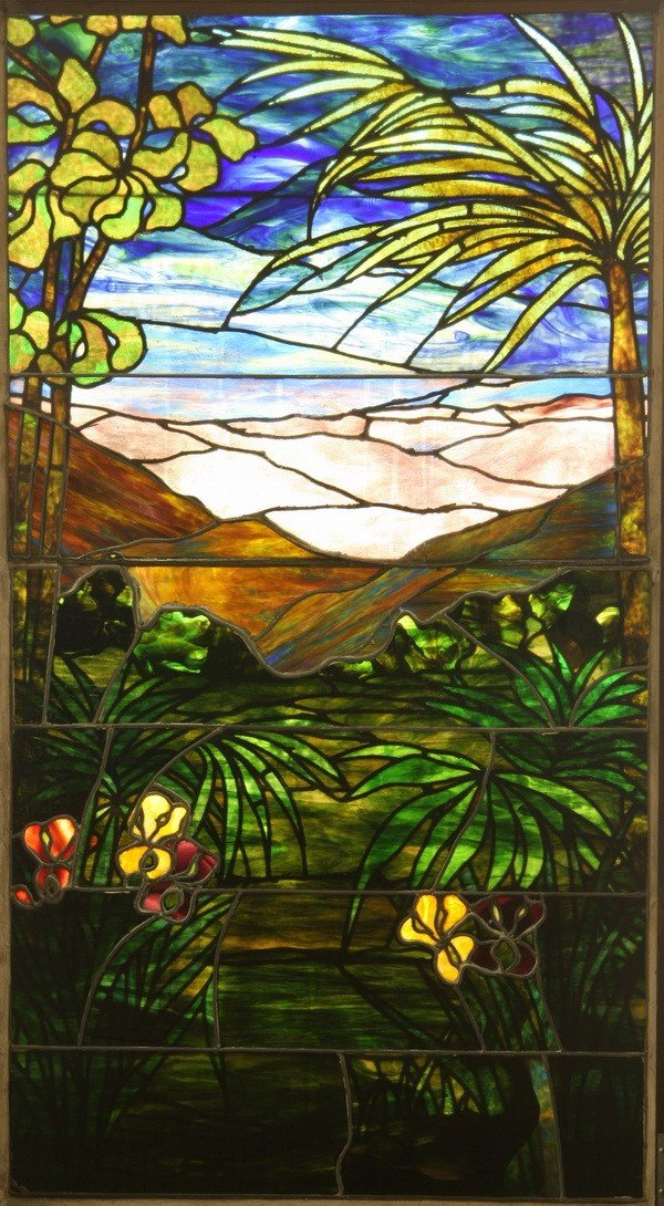 67: 19th c. American stained glass landing window