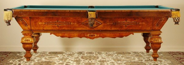 260: Marquetry inlaid regulation size pool table - 2