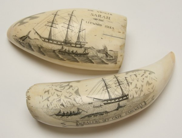 9: Pair of 19th c. whale tooth scrimshaw