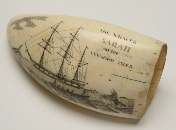 9: Pair of 19th c. whale tooth scrimshaw - 2