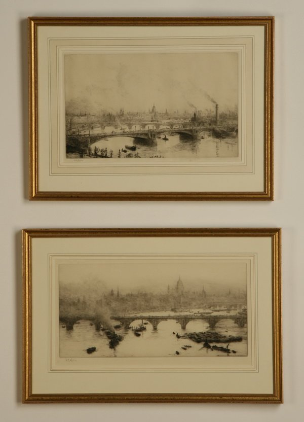 21: (2) 19th c. framed etchings, signed Wylie