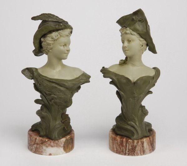 23: (2) 19th c. figural busts on marble bases