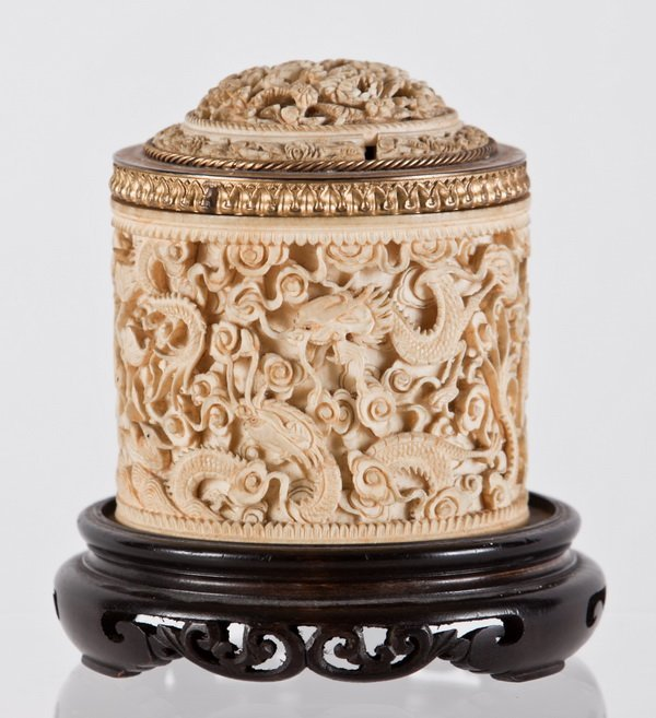 118: Rare 19th c. Chinese carved ivory lidded box