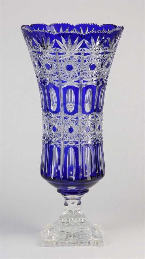 439 Bohemian Cobalt Blue Cut Crystal Vase
