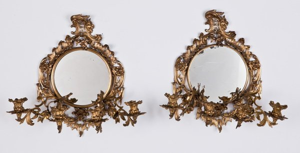 7: (2) 19th c. mirrored wall sconces