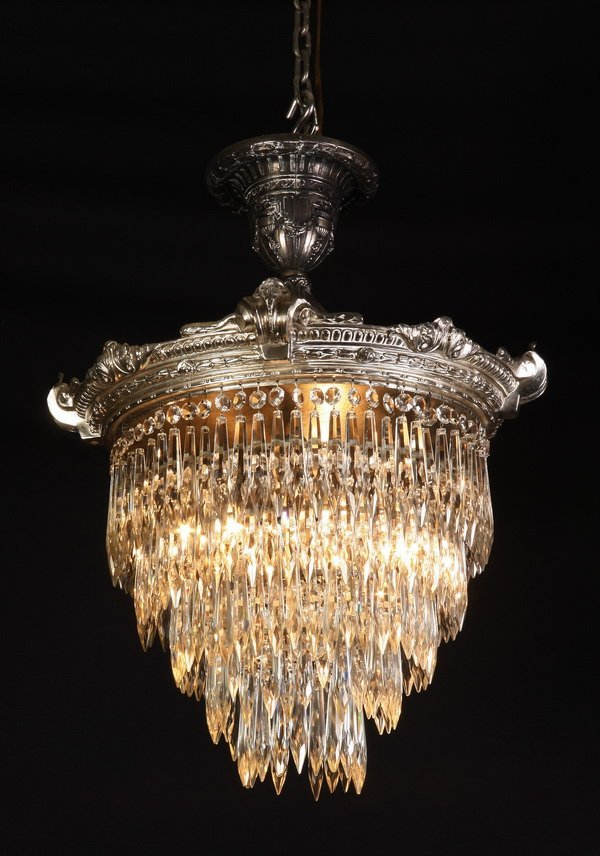 10: Early 20th c. bronze and crystal chandelier