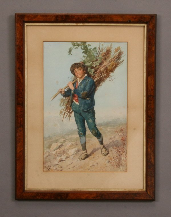 12: 19th c. Italian watercolor, signed deAngelis