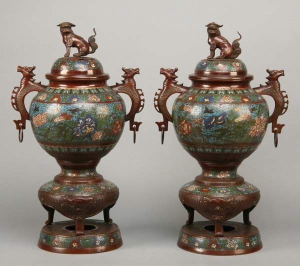 19: (2) 19th c. Chinese cloisonne' censers
