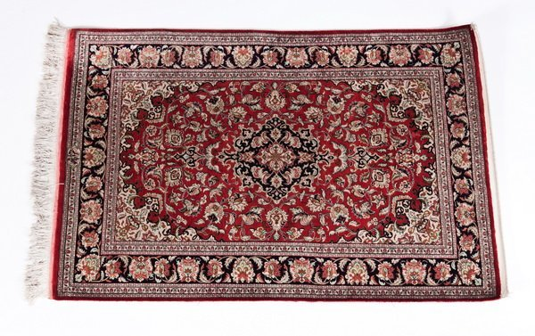 21: Handwoven silk Persian rug, signed