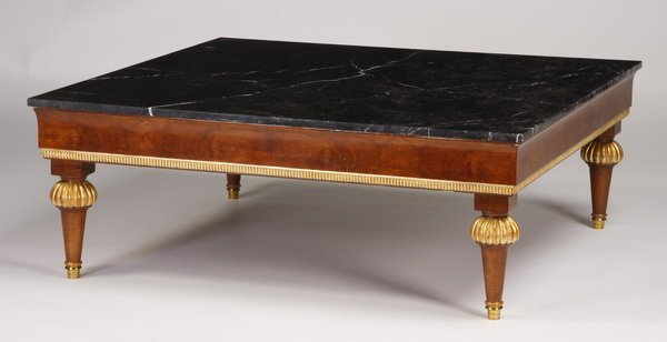 """119: Italian marble top coffee table, 47"""" square"""