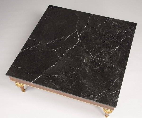 """119: Italian marble top coffee table, 47"""" square - 2"""