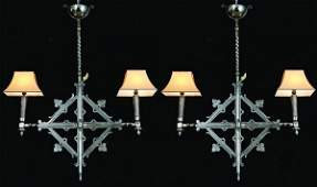 149: (2) 19th c. French wrought iron chandeliers