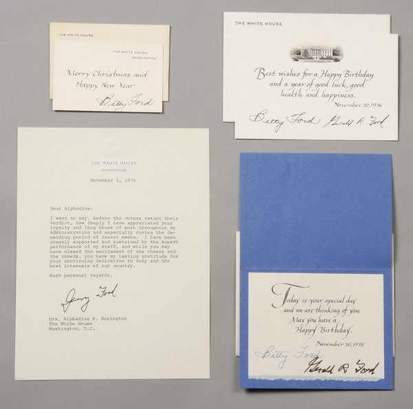3: President and Mrs. Ford notes & cards, signed