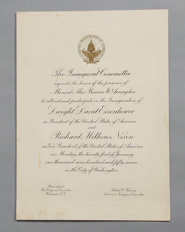 7: President Eisenhower Inauguration invitation