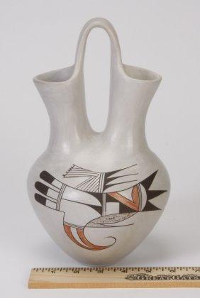 Hopi White Slip Wedding Vase, Little Fawn