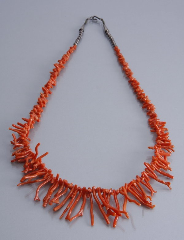 8: Red branch coral necklace