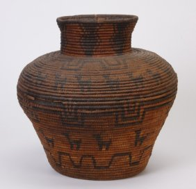 23: Early 20th c. Apache pictorial coiled olla