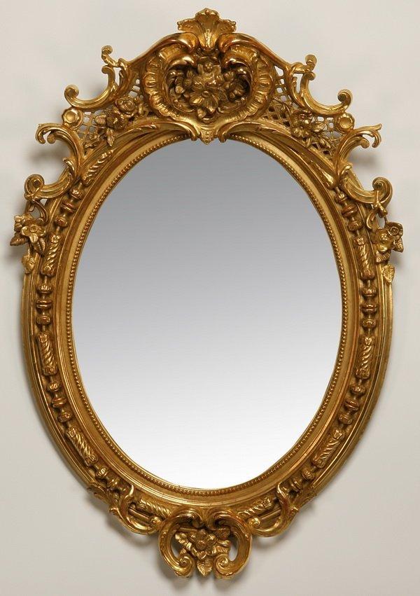 "5: 19th c. English gilt wood mirror, 49""h"