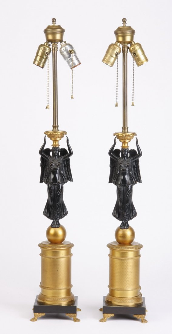 6: (2) 19th c. bronze Empire style table lamps