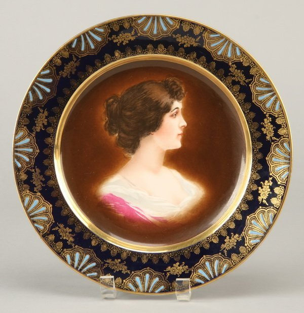 7: 19th c. portrait plate, marked Royal Vienna