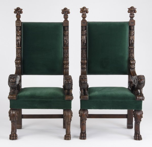 8: (2) Mid 19th c. Continental throne chairs