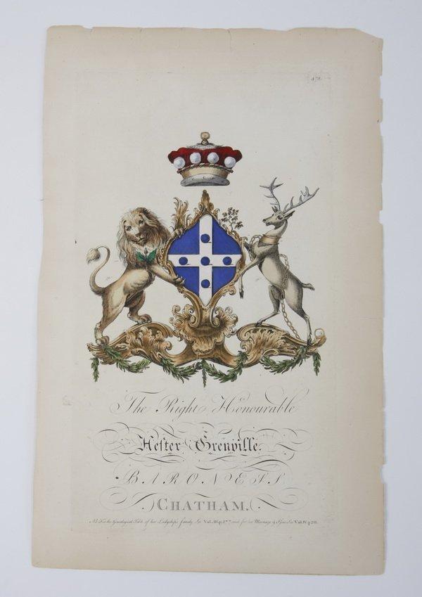 9: (2) 18th c. hand colored heraldic engravings