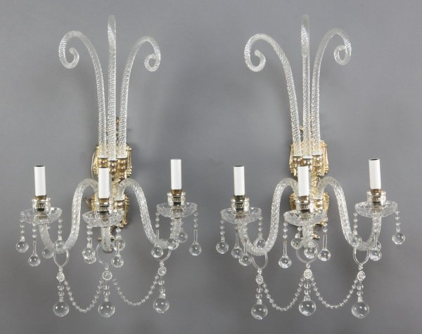 10: (2) 20th c. Murano crystal wall sconces