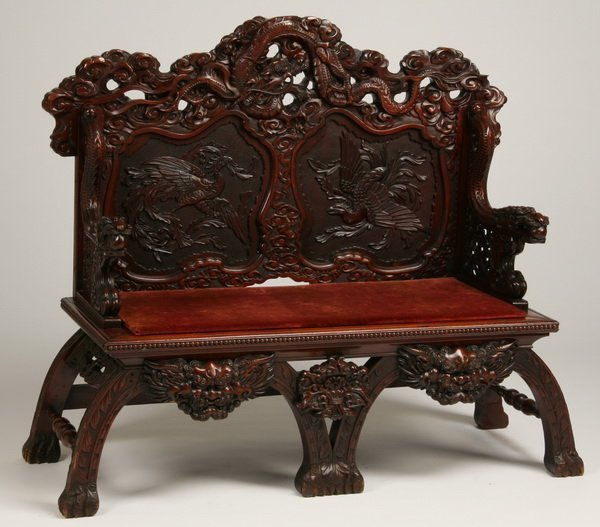 13: 19th c. carved Chinese settee