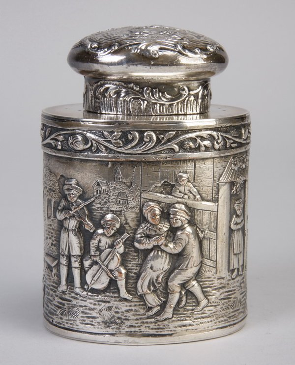20: 19th c. American silver container, hallmarked