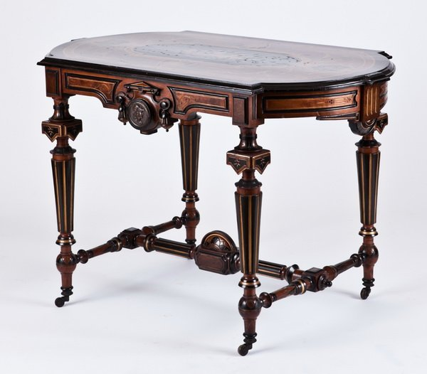 22: 19th c. marquetry inlaid center table