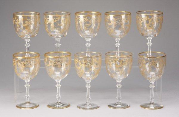 3: (10) Bohemian gilt crystal wine glasses