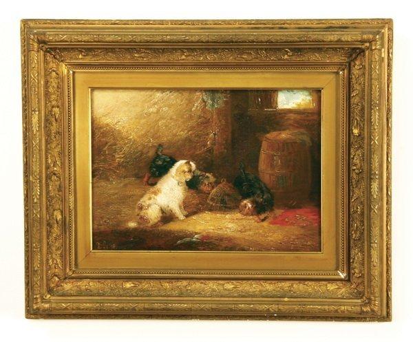 4: 19th c. oil on canvas, artist monogrammed