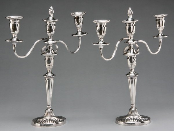 6: Pair of English silver plate candelabras