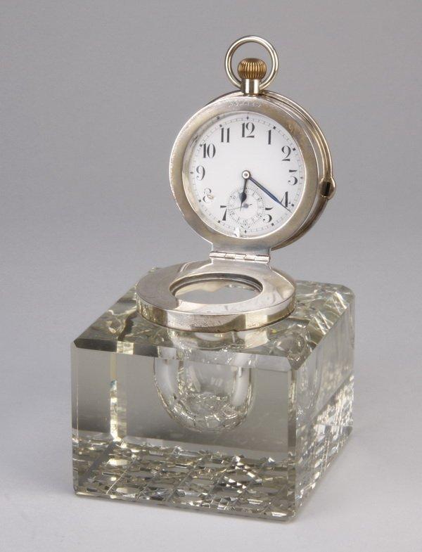 8: 19th c. Asprey crystal inkwell with watch