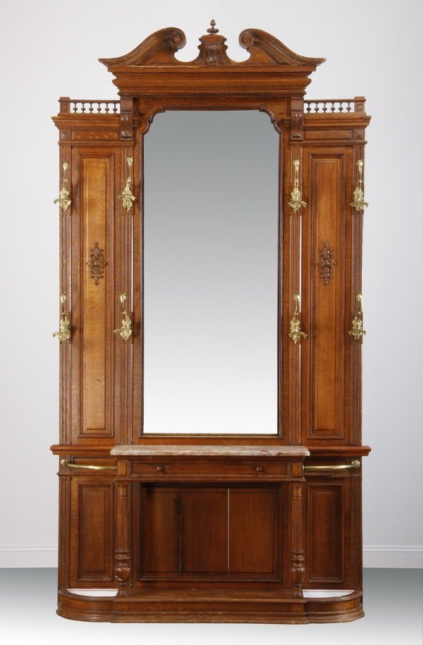 """11: 19th c. French carved oak hall tree, 100""""h"""