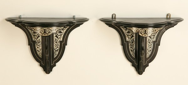 13: Pair of 19th c. ivory inlaid wall brackets