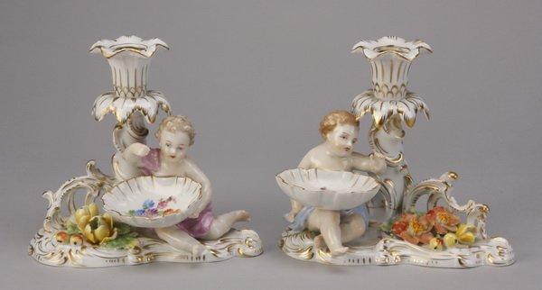 15: (2) Dresden figural candleholders