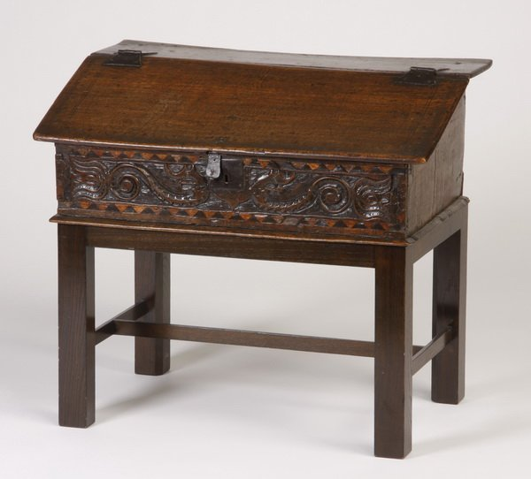 17: 18th c. French carved oak slant top chest