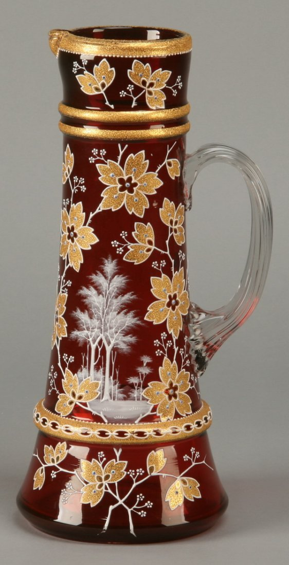 19: Late 19th c. Moser art glass pitcher